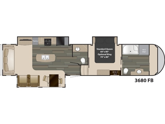 Gateway Fifth Wheel Model 3680FB by Heartland Floorplan