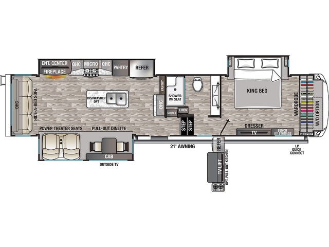 Cedar Creek Champagne Fifth Wheel Model 38EL by Forest River Floorplan