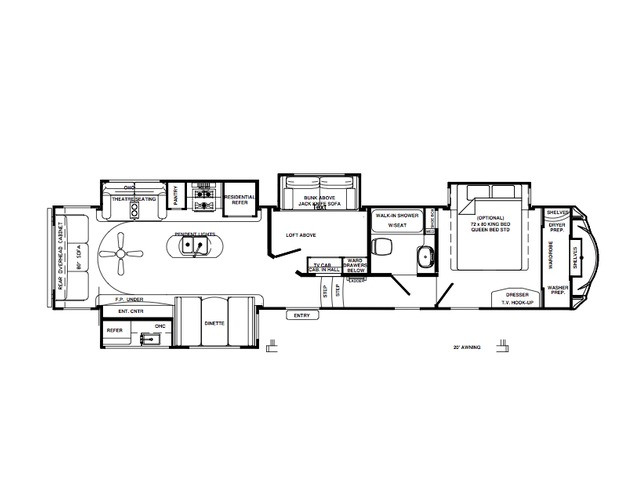 Sierra Fifth Wheel Model 372LOK by Forest River Floorplan