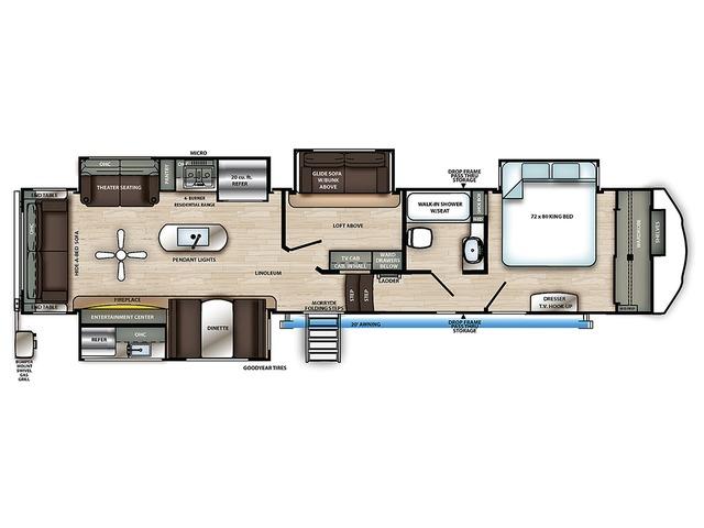 Sierra Fifth Wheel Model 372LOK by Forest River Floorplan