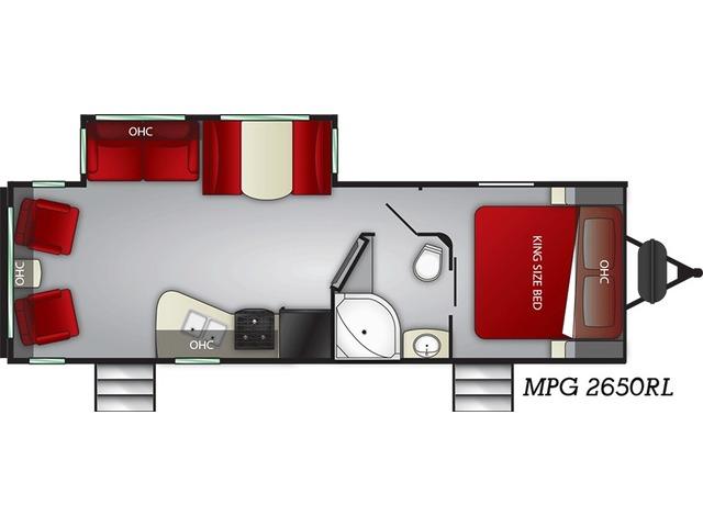 MPG Travel Trailer Model 2650RL by Cruiser RV Floorplan