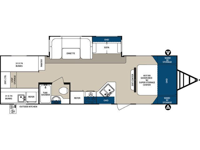 Surveyor LE Travel Trailer Model 295QBLE by Forest River Floorplan