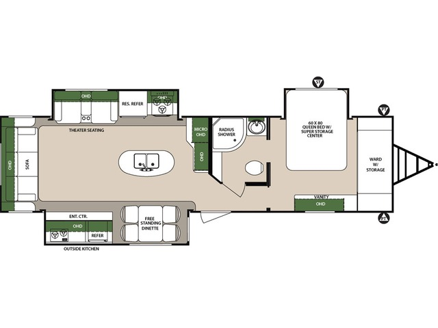 Surveyor Travel Trailer Model 33RLOK by Forest River Floorplan