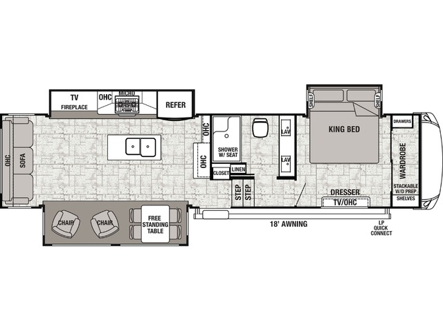 Cedar Creek Fifth Wheel Model 34RL2 by Forest River Floorplan