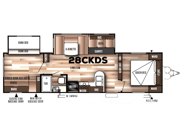 Salem Travel Trailer Model 28CKDS by Forest River Floorplan