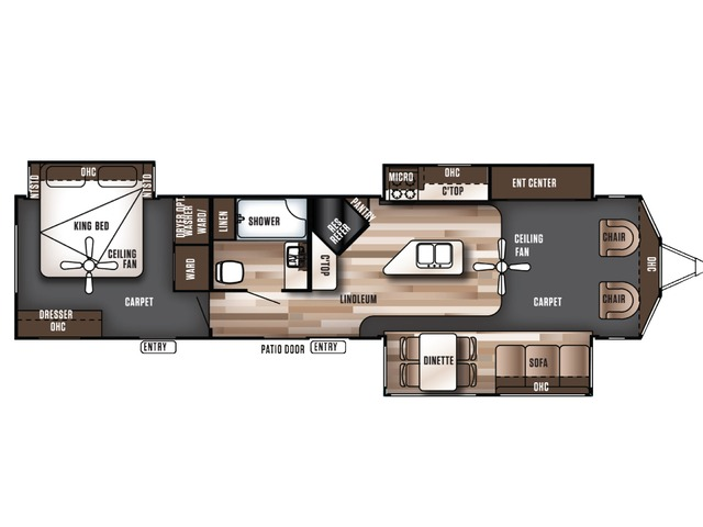 Salem Villa Estate Park Trailer Model 393FLT by Forest River Floorplan
