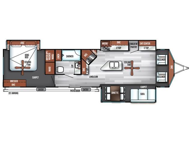 Salem Villa Estate Park Trailer Model 393FLT by Forest River Floorplan