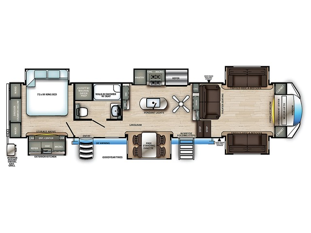Sierra Fifth Wheel Model 379FLOK by Forest River Floorplan