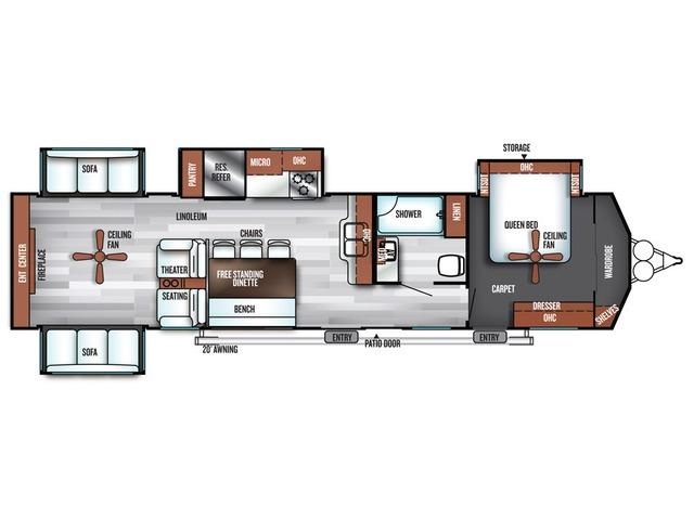 Salem Villa Estate Park Trailer Model 395RET by Forest River Floorplan