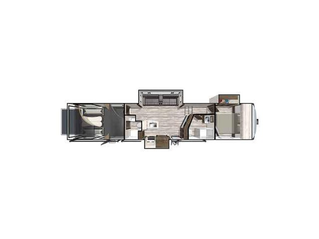 XLR Thunderbolt Toy Hauler (Fifth Wheel) Model 413AMP by Forest River Floorplan