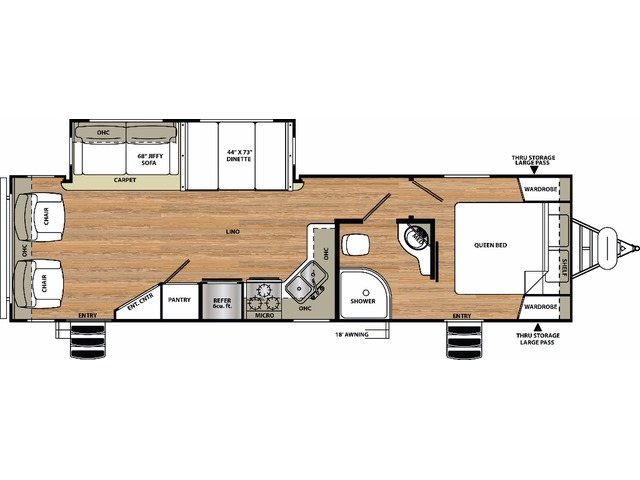 Vibe Extreme Lite Travel Trailer Model 277RLS by Forest River Floorplan