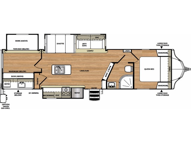 Vibe Travel Trailer Model 313BHS by Forest River Floorplan