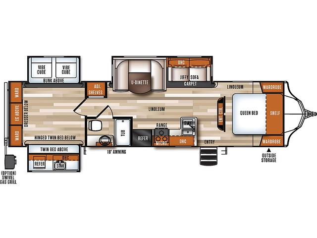 Vibe Travel Trailer Model 323QBS by Forest River Floorplan
