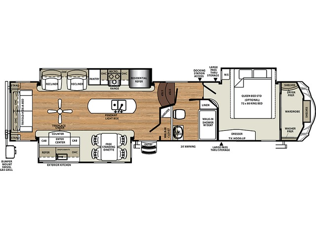 Sierra Fifth Wheel Model 36ROK by Forest River Floorplan