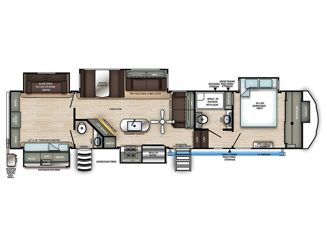 Sierra Fifth Wheel Model 384QBOK by Forest River Floorplan