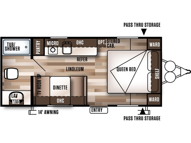 Cruise Lite FSX Travel Trailer Model 186RB by Forest River Floorplan