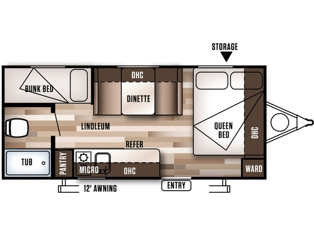 Cruise Lite FSX Travel Trailer Model 196BH by Forest River Floorplan