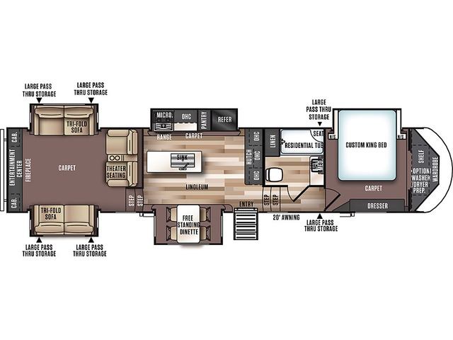Hemisphere GLX Fifth Wheel Model 372RD by Forest River Floorplan