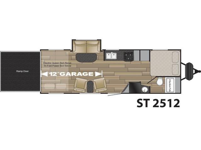 Stryker Toy Hauler (Travel Trailer) Model ST-2512 by Cruiser RV Floorplan