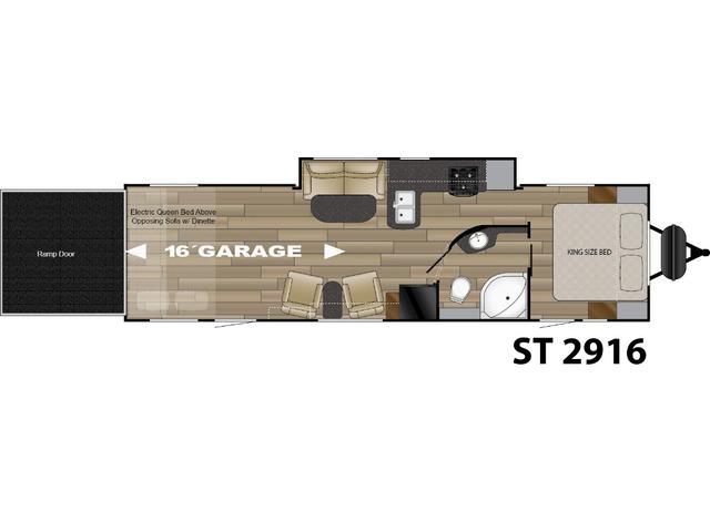 Stryker Toy Hauler (Travel Trailer) Model ST-2916 by Cruiser RV Floorplan