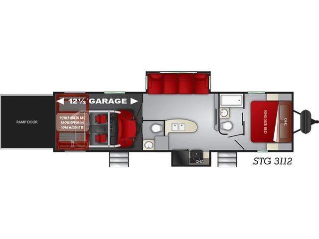 Stryker Toy Hauler (Travel Trailer) Model STG-3112 by Cruiser RV Floorplan