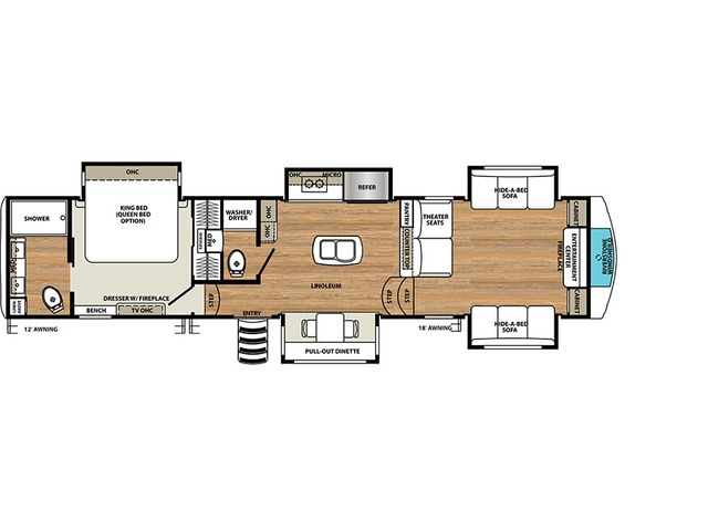 Riverstone Fifth Wheel Model 39RBFL by Forest River Floorplan