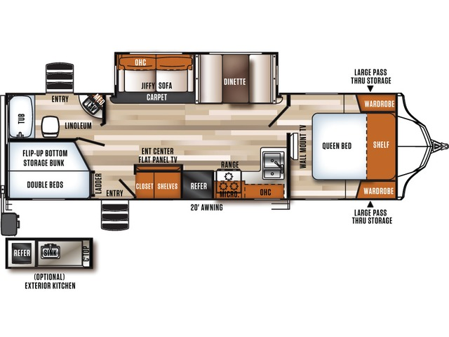 Vibe Travel Trailer Model 285BHS by Forest River Floorplan