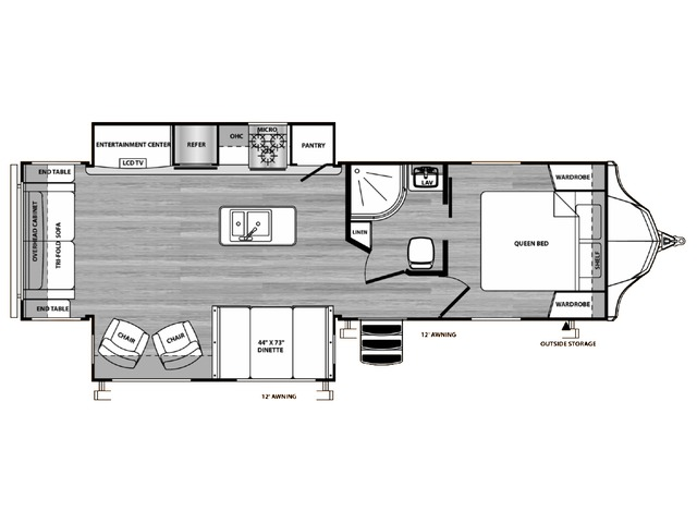 Vibe Travel Trailer Model 288RLS by Forest River Floorplan
