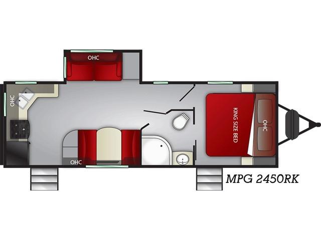 MPG Travel Trailer Model 2450RK by Cruiser RV Floorplan