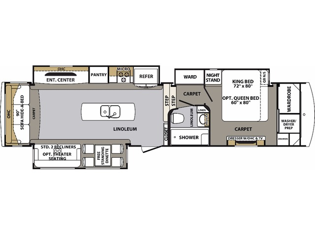 Cardinal Fifth Wheel Model 3850RL by Forest River Floorplan