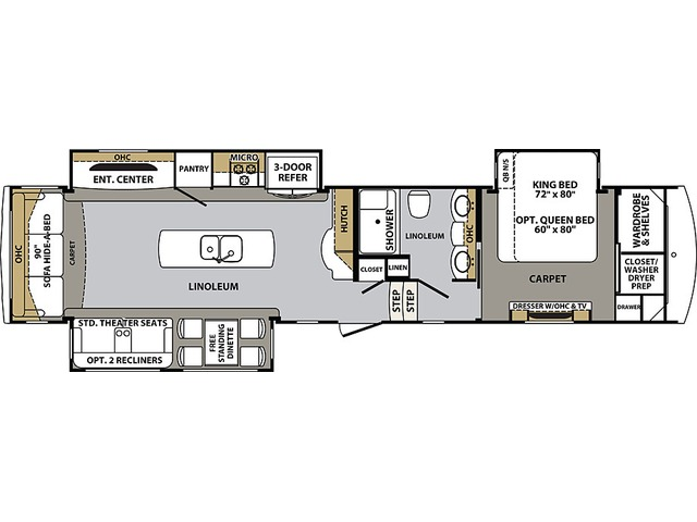 Cardinal Luxury Fifth Wheel Model 3456RLX by Forest River Floorplan