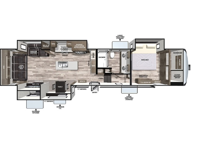 Cardinal Luxury Fifth Wheel Model 345RLX by Forest River Floorplan