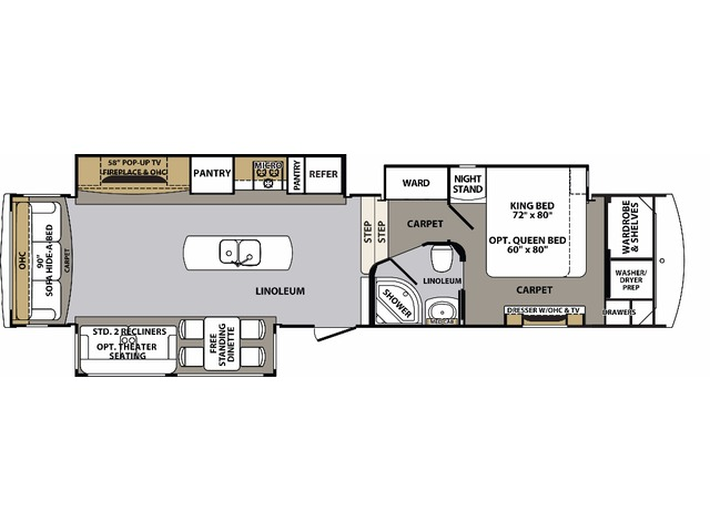 Cardinal Estate Fifth Wheel Model 3850RL by Forest River Floorplan