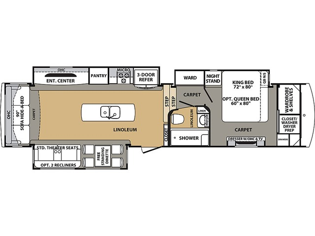 Cardinal Estate Fifth Wheel Model 3850RLES by Forest River Floorplan