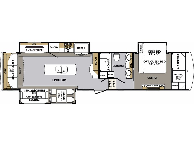 Cardinal Estate Fifth Wheel Model 3456RL by Forest River Floorplan