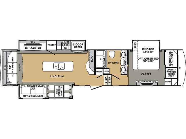 Cardinal Estate Fifth Wheel Model 3456RLES by Forest River Floorplan