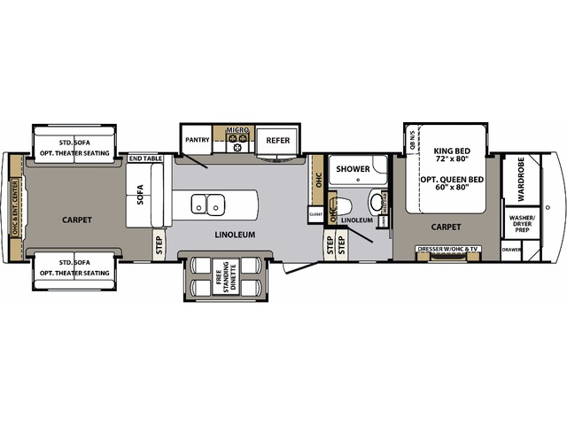 Cardinal Estate Fifth Wheel Model 3950TZES by Forest River Floorplan