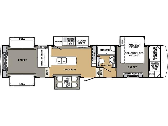 Cardinal Estate Fifth Wheel Model 3950TZES by Forest River Floorplan