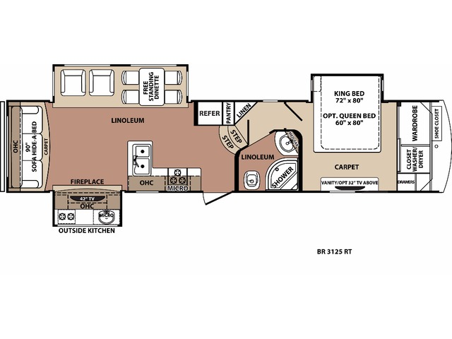 Blue Ridge Fifth Wheel Model 3125RT by Forest River Floorplan