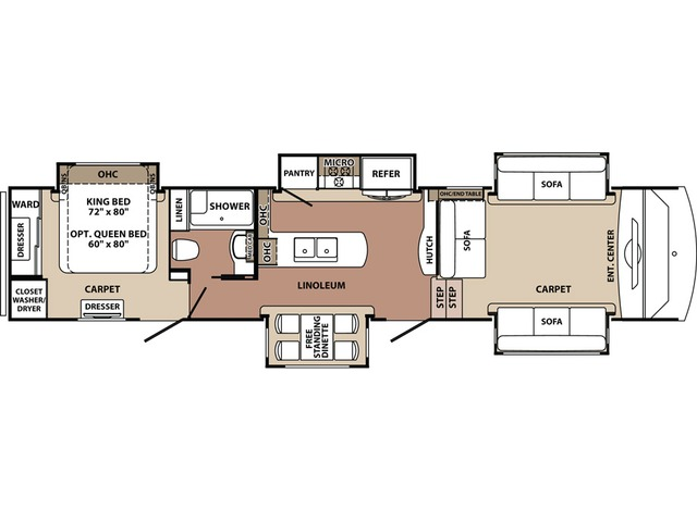 Blue Ridge Fifth Wheel Model 3888FL by Forest River Floorplan