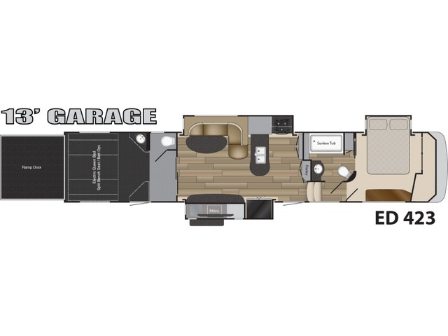 Edge Toy Hauler (Fifth Wheel) Model ED 423 by Heartland Floorplan