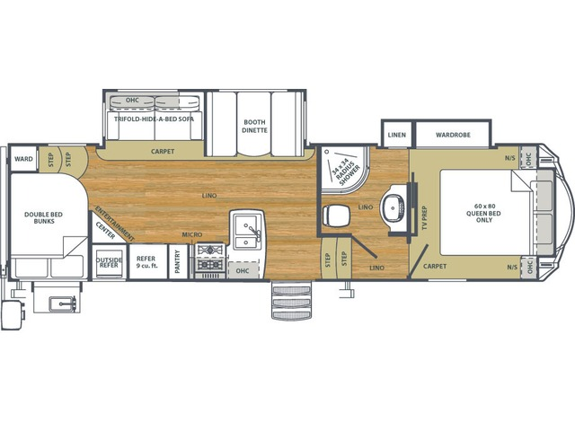 Sierra HT Fifth Wheel Model 3275DBOK by Forest River Floorplan