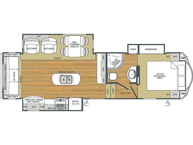Sierra HT Fifth Wheel Model 3250IK by Forest River Floorplan