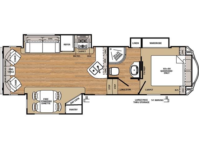 Sierra HT Fifth Wheel Model 2850RL by Forest River Floorplan