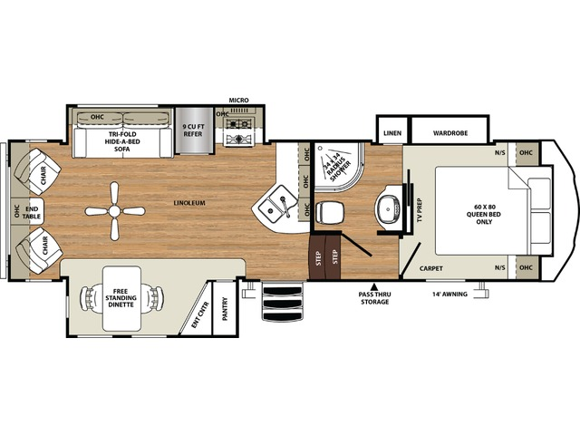 Sierra HT Fifth Wheel Model 2850RL by Forest River Floorplan