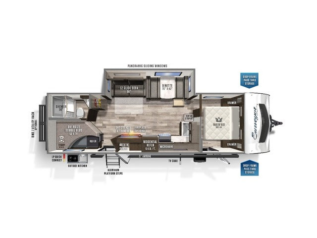 Surveyor Luxury Travel Trailer Model 287BHSS by Forest River Floorplan