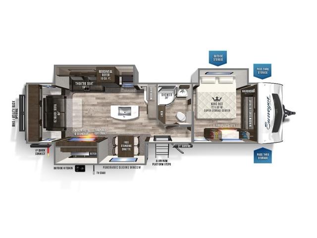 Surveyor Luxury Travel Trailer Model 33KRLOK by Forest River Floorplan