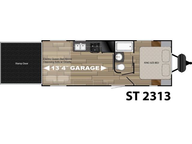 Stryker Toy Hauler (Travel Trailer) Model ST-2313 by Cruiser RV Floorplan