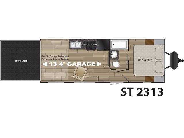 Stryker Toy Hauler (Travel Trailer) Model ST-2313 by Cruiser RV Floorplan