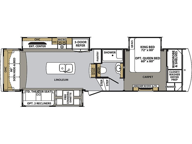 Cardinal Luxury Fifth Wheel Model 3350RLX by Forest River Floorplan
